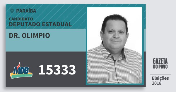 Santinho Dr. Olimpio 15333 (MDB) Deputado Estadual | Paraíba | Eleições 2018