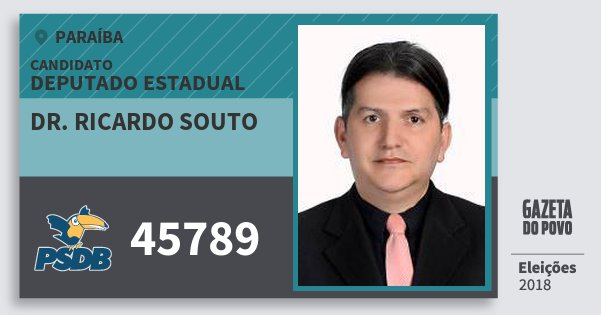 Santinho Dr. Ricardo Souto 45789 (PSDB) Deputado Estadual | Paraíba | Eleições 2018