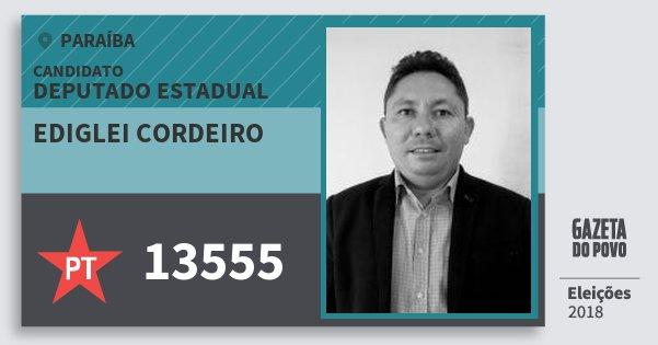 Santinho Ediglei Cordeiro 13555 (PT) Deputado Estadual | Paraíba | Eleições 2018