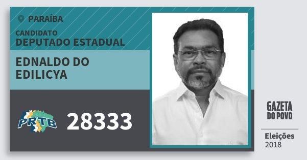 Santinho Ednaldo do Edilicya 28333 (PRTB) Deputado Estadual | Paraíba | Eleições 2018