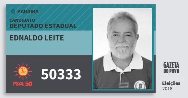 Santinho Ednaldo Leite 50333 (PSOL) Deputado Estadual | Paraíba | Eleições 2018