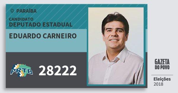 Santinho Eduardo Carneiro 28222 (PRTB) Deputado Estadual | Paraíba | Eleições 2018