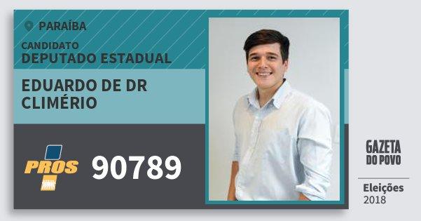 Santinho Eduardo de Dr Climério 90789 (PROS) Deputado Estadual | Paraíba | Eleições 2018