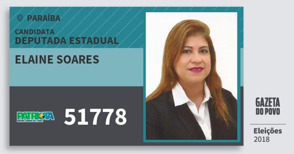 Santinho Elaine Soares 51778 (PATRI) Deputada Estadual | Paraíba | Eleições 2018
