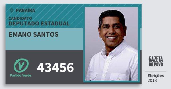 Santinho Emano Santos 43456 (PV) Deputado Estadual | Paraíba | Eleições 2018