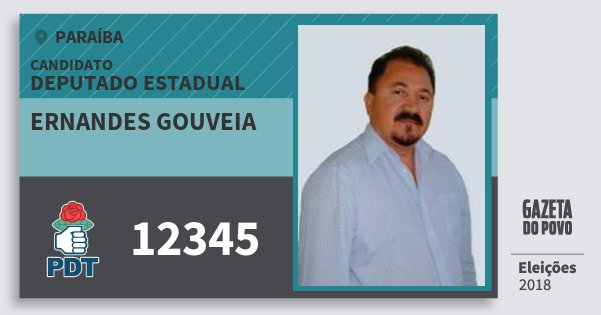 Santinho Ernandes Gouveia 12345 (PDT) Deputado Estadual | Paraíba | Eleições 2018