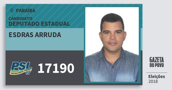 Santinho Esdras Arruda 17190 (PSL) Deputado Estadual | Paraíba | Eleições 2018