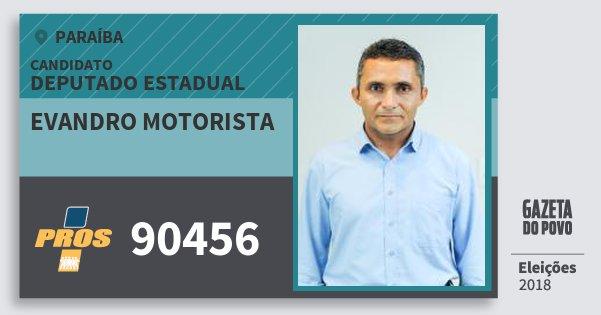 Santinho Evandro Motorista 90456 (PROS) Deputado Estadual | Paraíba | Eleições 2018