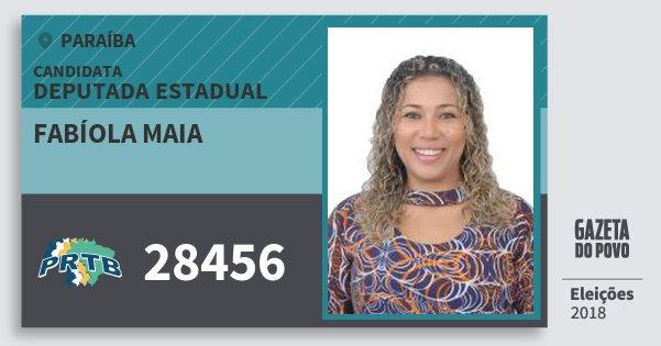 Santinho Fabíola Maia 28456 (PRTB) Deputada Estadual | Paraíba | Eleições 2018