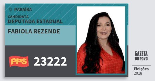 Santinho Fabiola Rezende 23222 (PPS) Deputada Estadual | Paraíba | Eleições 2018