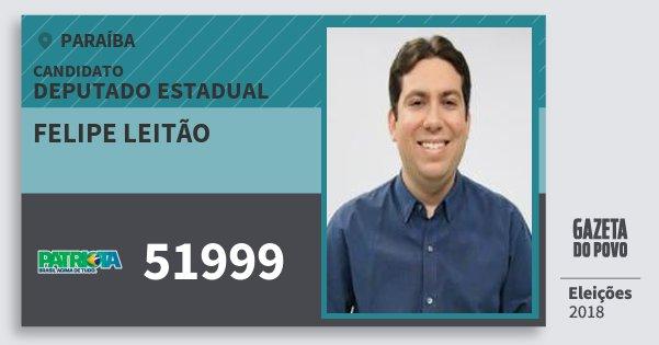 Santinho Felipe Leitão 51999 (PATRI) Deputado Estadual | Paraíba | Eleições 2018