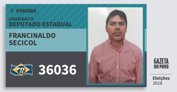 Santinho Francinaldo Secicol 36036 (PTC) Deputado Estadual | Paraíba | Eleições 2018