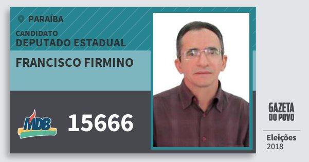 Santinho Francisco Firmino 15666 (MDB) Deputado Estadual | Paraíba | Eleições 2018