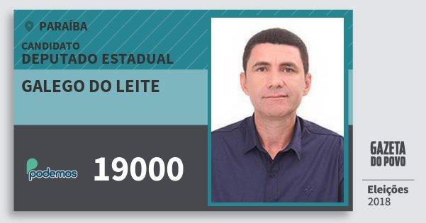 Santinho Galego do Leite 19000 (PODE) Deputado Estadual | Paraíba | Eleições 2018