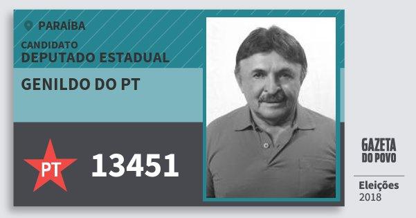 Santinho Genildo do Pt 13451 (PT) Deputado Estadual | Paraíba | Eleições 2018