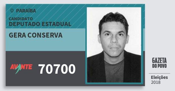 Santinho Gera Conserva 70700 (AVANTE) Deputado Estadual | Paraíba | Eleições 2018