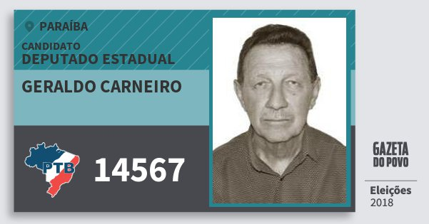 Santinho Geraldo Carneiro 14567 (PTB) Deputado Estadual | Paraíba | Eleições 2018