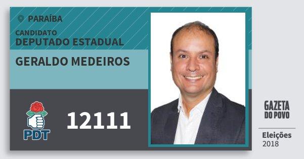 Santinho Geraldo Medeiros 12111 (PDT) Deputado Estadual | Paraíba | Eleições 2018