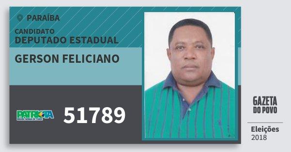 Santinho Gerson Feliciano 51789 (PATRI) Deputado Estadual | Paraíba | Eleições 2018