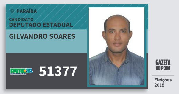 Santinho Gilvandro Soares 51377 (PATRI) Deputado Estadual | Paraíba | Eleições 2018