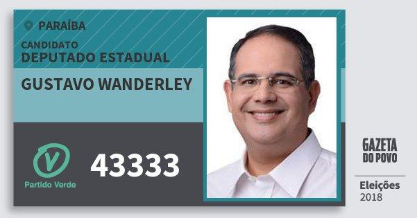Santinho Gustavo Wanderley 43333 (PV) Deputado Estadual | Paraíba | Eleições 2018