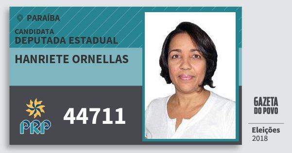 Santinho Hanriete Ornellas 44711 (PRP) Deputada Estadual | Paraíba | Eleições 2018