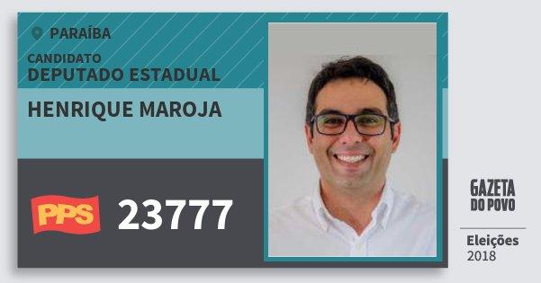 Santinho Henrique Maroja 23777 (PPS) Deputado Estadual | Paraíba | Eleições 2018