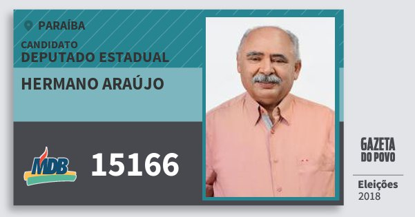 Santinho Hermano Araújo 15166 (MDB) Deputado Estadual | Paraíba | Eleições 2018