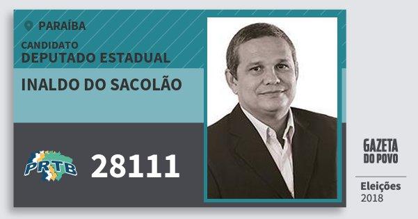 Santinho Inaldo do Sacolão 28111 (PRTB) Deputado Estadual | Paraíba | Eleições 2018