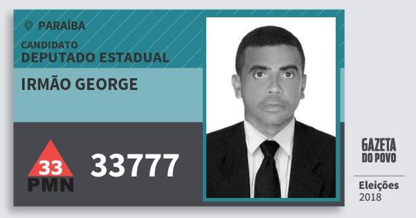 Santinho Irmão George 33777 (PMN) Deputado Estadual | Paraíba | Eleições 2018