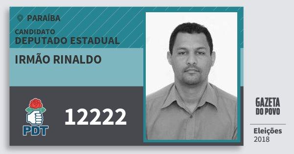 Santinho Irmão Rinaldo 12222 (PDT) Deputado Estadual | Paraíba | Eleições 2018