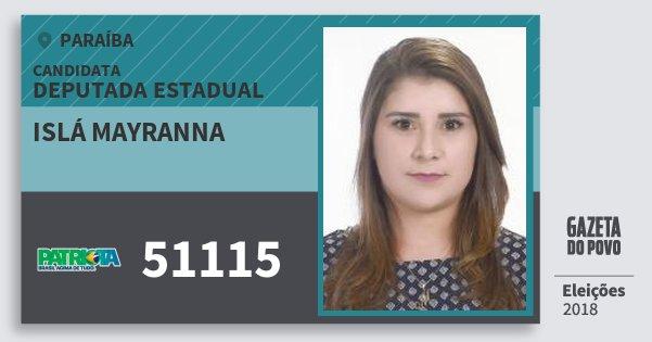 Santinho Islá Mayranna 51115 (PATRI) Deputada Estadual | Paraíba | Eleições 2018