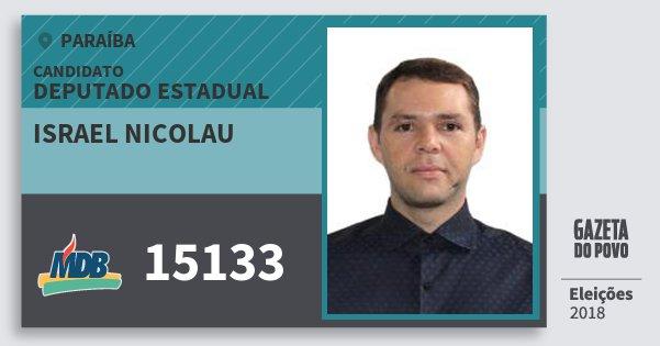 Santinho Israel Nicolau 15133 (MDB) Deputado Estadual | Paraíba | Eleições 2018