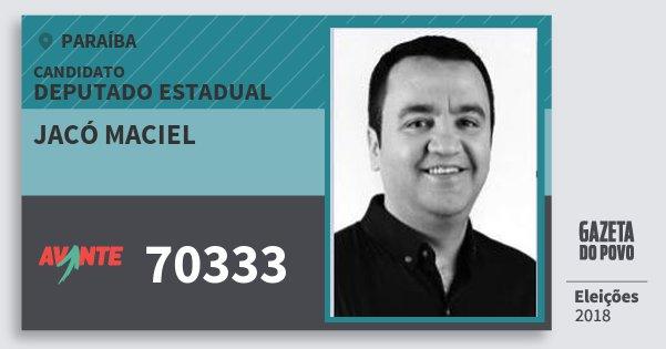 Santinho Jacó Maciel 70333 (AVANTE) Deputado Estadual | Paraíba | Eleições 2018