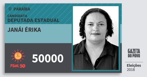 Santinho Janái Érika 50000 (PSOL) Deputada Estadual | Paraíba | Eleições 2018