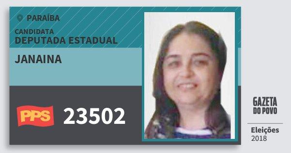 Santinho Janaina 23502 (PPS) Deputada Estadual | Paraíba | Eleições 2018