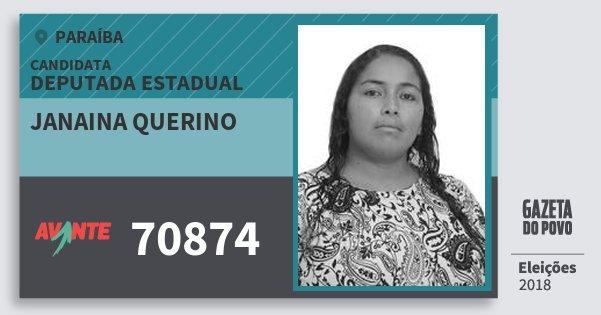 Santinho Janaina Querino 70874 (AVANTE) Deputada Estadual | Paraíba | Eleições 2018