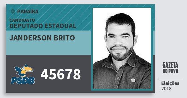 Santinho Janderson Brito 45678 (PSDB) Deputado Estadual | Paraíba | Eleições 2018