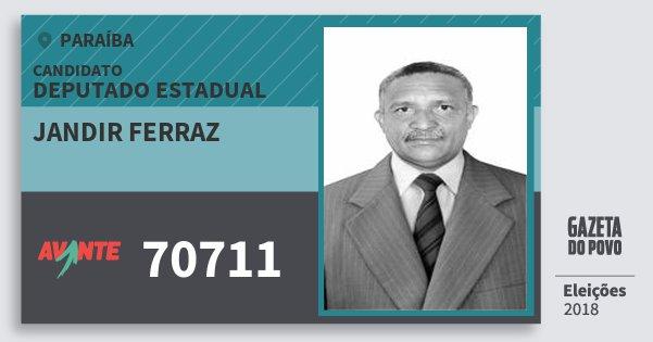 Santinho Jandir Ferraz 70711 (AVANTE) Deputado Estadual | Paraíba | Eleições 2018