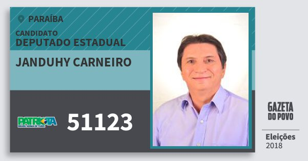 Santinho Janduhy Carneiro 51123 (PATRI) Deputado Estadual | Paraíba | Eleições 2018
