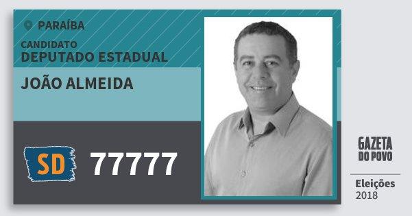 Santinho João Almeida 77777 (SOLIDARIEDADE) Deputado Estadual | Paraíba | Eleições 2018