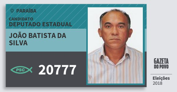 Santinho João Batista da Silva 20777 (PSC) Deputado Estadual | Paraíba | Eleições 2018