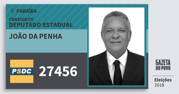 Santinho João da Penha 27456 (DC) Deputado Estadual | Paraíba | Eleições 2018