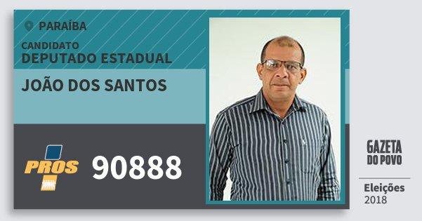 Santinho João dos Santos 90888 (PROS) Deputado Estadual | Paraíba | Eleições 2018