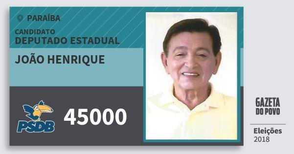 Santinho João Henrique 45000 (PSDB) Deputado Estadual | Paraíba | Eleições 2018