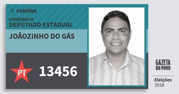 Santinho Joãozinho do Gás 13456 (PT) Deputado Estadual | Paraíba | Eleições 2018