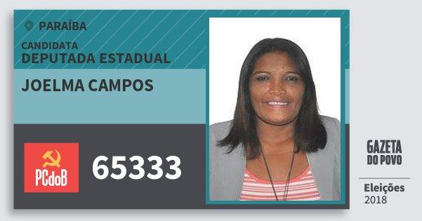 Santinho Joelma Campos 65333 (PC do B) Deputada Estadual | Paraíba | Eleições 2018