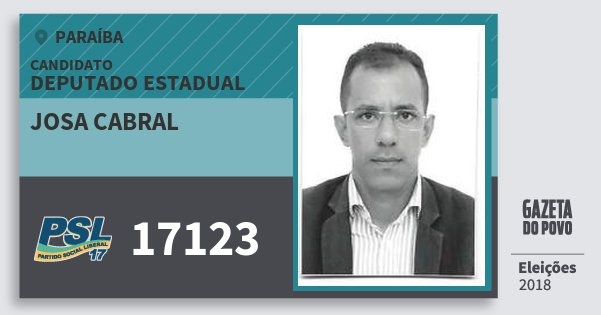 Santinho Josa Cabral 17123 (PSL) Deputado Estadual | Paraíba | Eleições 2018