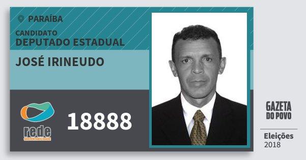 Santinho José Irineudo 18888 (REDE) Deputado Estadual | Paraíba | Eleições 2018