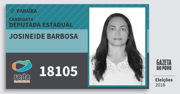 Santinho Josineide Barbosa 18105 (REDE) Deputada Estadual | Paraíba | Eleições 2018